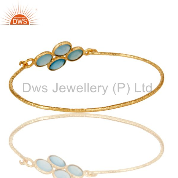 Supplier of 18k yellow gold sterling silver charm fashion dyed chalcedony bangle
