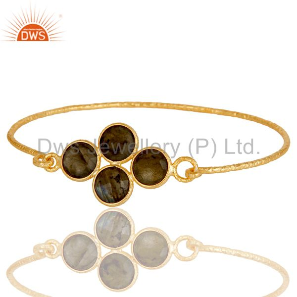 Supplier of 18k yellow gold over 925 silver charm fashion labradorite bangle