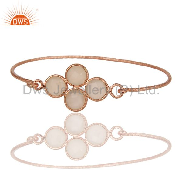 Supplier of 18k rose gold over 925 silver charm fashion dyed chalcedony bangle