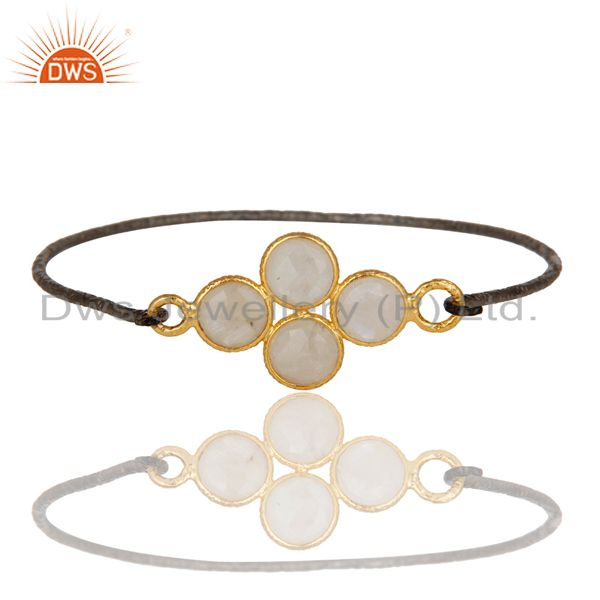 Supplier of 18k gold plated black oxidized 925 silver rainbow moonstone bangle