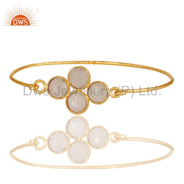 Supplier of 18k yellow gold 925 silver charm fashion rainbow moonstone bangle
