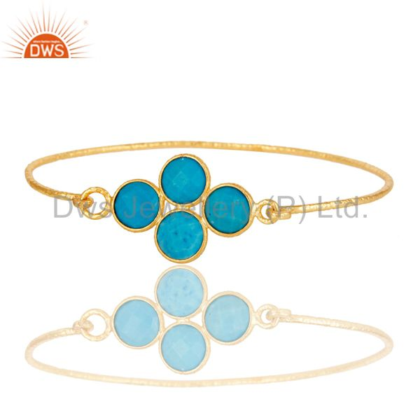 Supplier of 18k yellow gold 925 silver charm fashion natural turquoise bangle