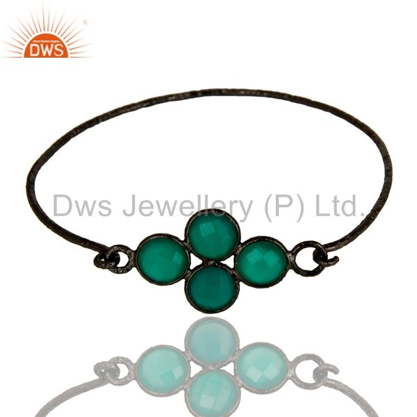 Supplier of Black oxidized 925 silver handmade bezel set green onyx sleek bangle