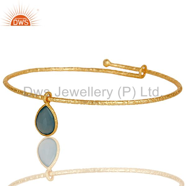 Supplier of 18k gold on 925 sterling silver handmade charm bangle chalcedony