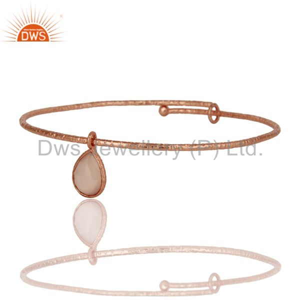 Supplier of 18k rose gold plated 925 silver handmade charm bangle chalcedony