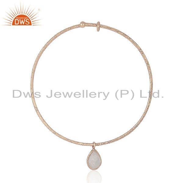Supplier of Rose gold plated textured silver rainbow moonstone bangle jewelry