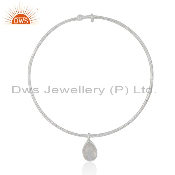 Supplier of Wholesale sterling silver rainbow moonstone adjustable bangle