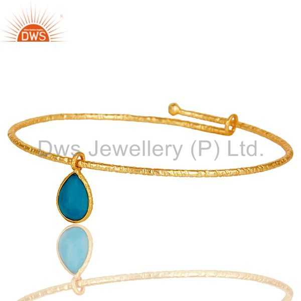 Supplier of 18k yellow gold plated 925 silver turquoise openble fashion bangle