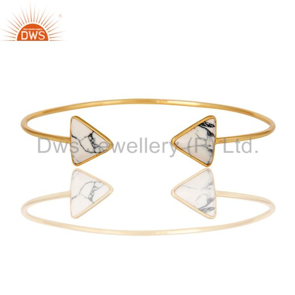 Exporter 18K Yellow Gold Plated Handmade White Howlite Gemstone Sleek Cuff Jewellery