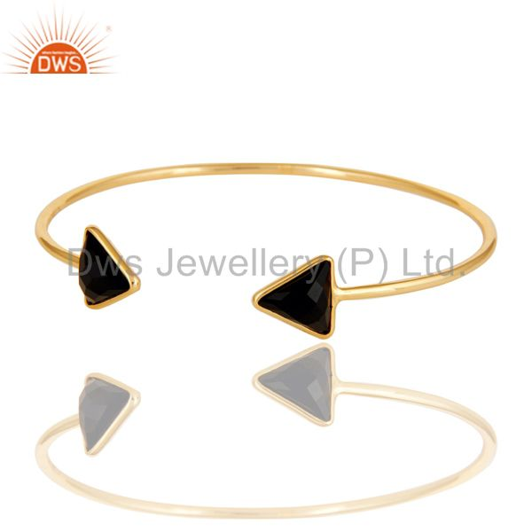 Exporter 14K Gold Plated 925 Sterling Silver Black Onyx Openable Cuff Jewellery