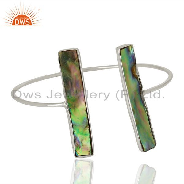 Exporter Abalone Shell Rectangle 92.5 Sterling Silver Openable Bangle Gemstone Jewellery