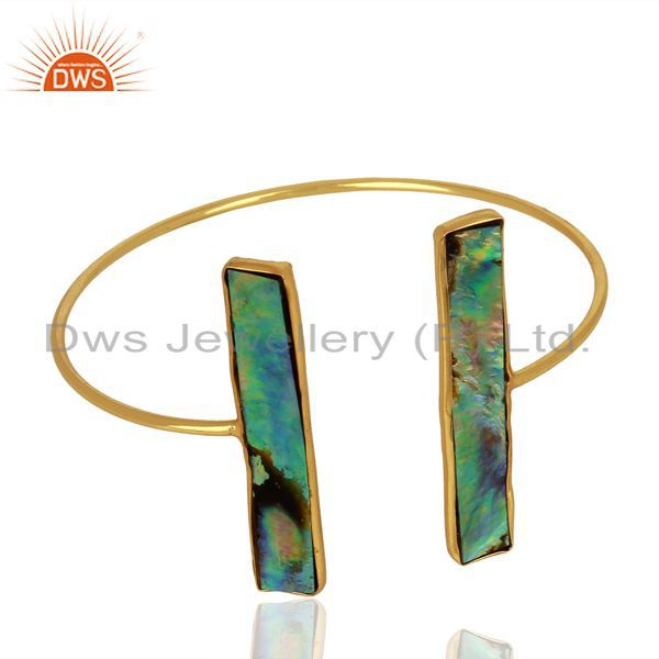 Exporter Abalone Shell Rectangle 925 Sterling Silver Gold Plated Openable Cuff Jewelry
