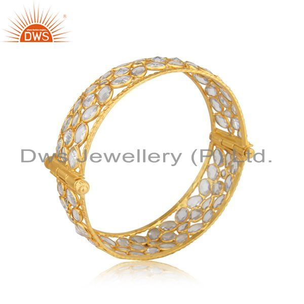 Supplier of Cz beaded gemstone 18k gold plated silver openable bangle jewelry