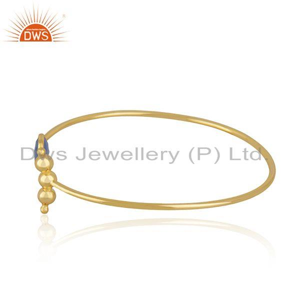Exporter Designer Gold Plated Silver Blue Chalcedony Cuff Bangle Jewelry