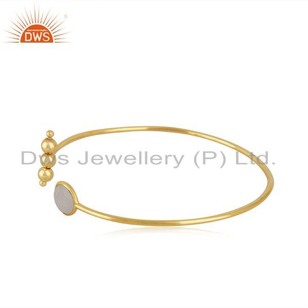 Exporter Gold Plated Sterling Silver Rainbow Moonstone Cuff Bracelet Manufacturer