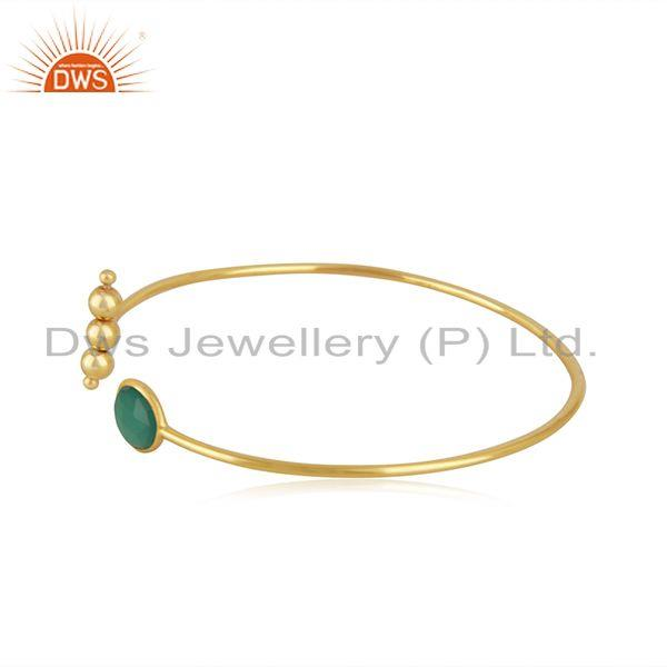 Exporter Yellow Gold Plated Sterling Silver Designer Green Onyx Gemstone Cuff Bracelet