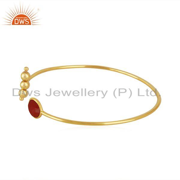 Exporter Red Onyx Gemstone Gold Plated 925 Silver Cuff Bracelet Suppliers India