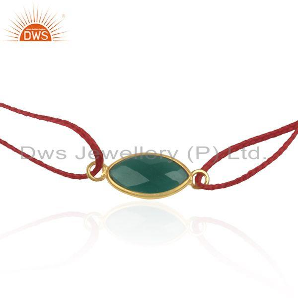 Exporter Green Onyx Gemstone Gold Plated 925 Silver Macrame Bracelet Supplier