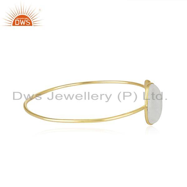 Manufacturer of Rainbow Moonstone Yellow Gold Plated Sterling Silver Cuff Bracelet