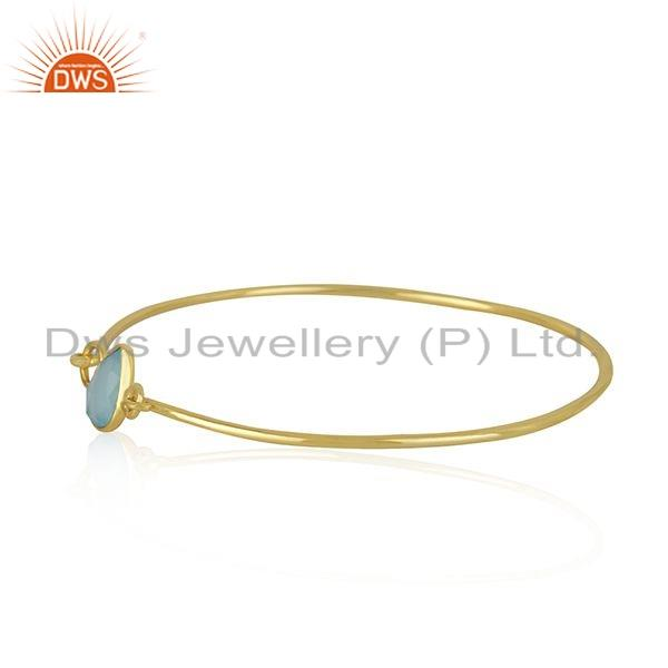 Supplier of Aqua chalcedony 18k gold plated 925 silver bangle jewelry for girls