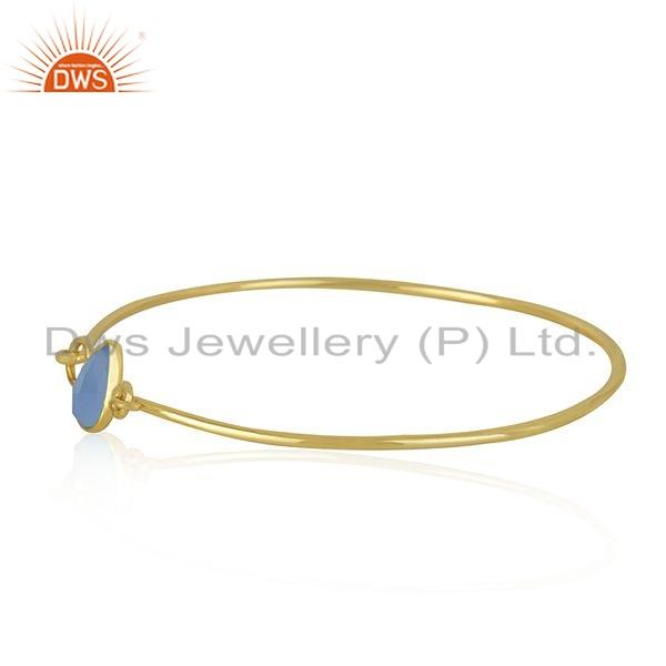 Exporter Blue Chalcedony Gemstone Gold Plated Designer Silver Bangle Jewelry