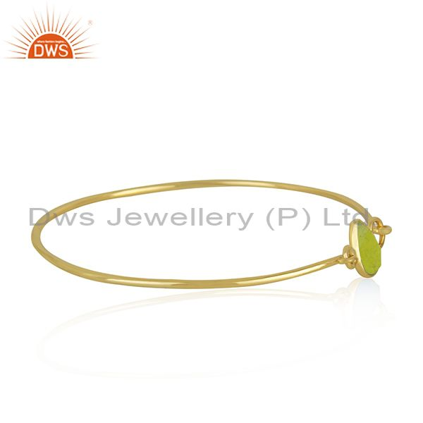 Supplier of Natural green chalcedony gemstone gold over silver bangle jewelry