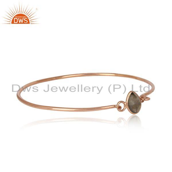 Labradorite rose gold plated 925 fine silver openable bangle