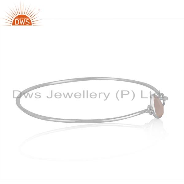 Supplier of 925 sterling silver handmade bangle with chalcedony