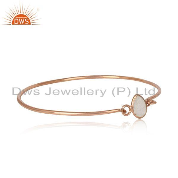 Rainbow moonstone rose gold plated silver 925 openable bangle