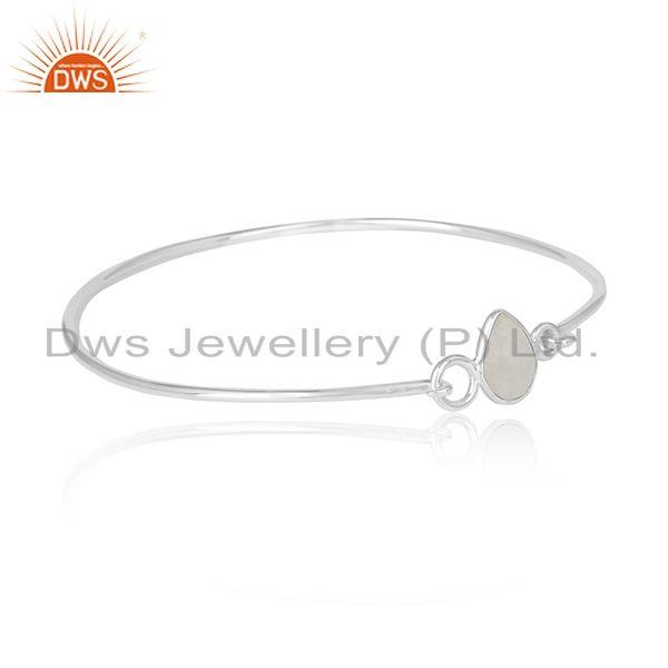 Supplier of Pear shape rainbow moonstone sterling fine silver bangle jewelry