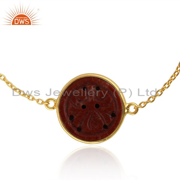 Exporter Red Jasper Gemstone Yellow Gold Plated Silver Chain Bracelet