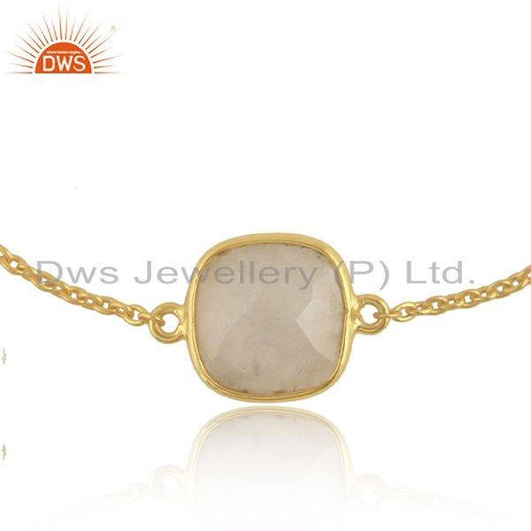 Rainbow moonstone womens gold plated silver designer chain bracelet