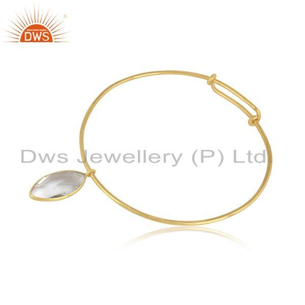 Crystal quartz gemstone designer gold plated 925 silver bangles