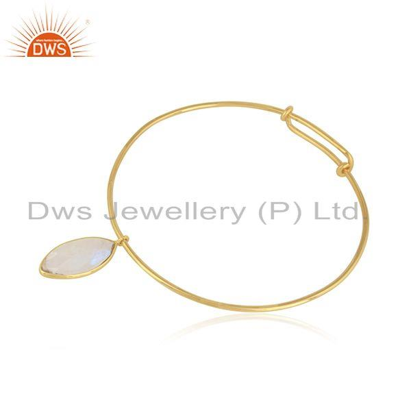 Rainbow moonstone gemstone 18k gold plated 925 silver bangles