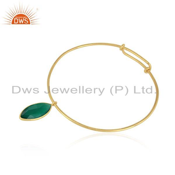 Natural green onyx gemstone designer silver gold plated bangles
