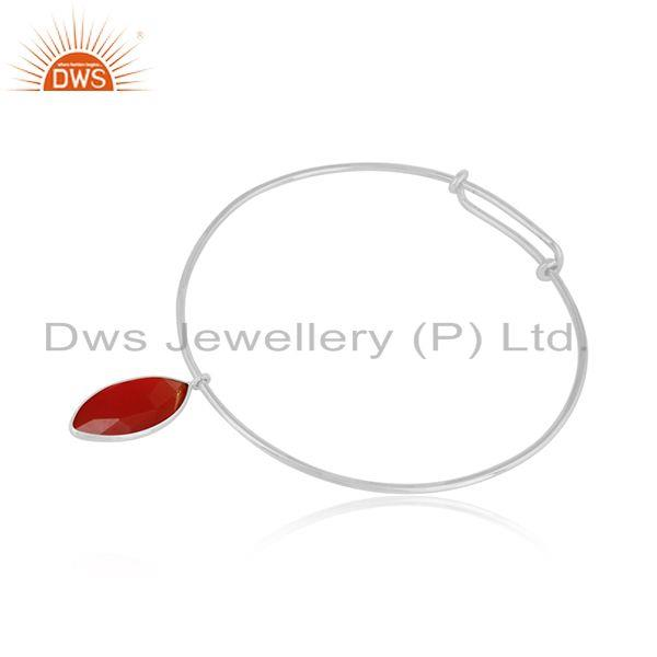 Red onyx gemstone designer womens sterling silver bangles jewelry