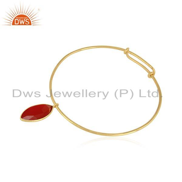 Natural red onyx gemstone handmade gold plated silver bangles