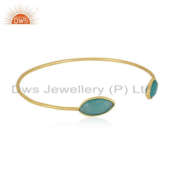 Exporter Marquise Shape Aqua Chalcedony Gemstone Gold Plated Silver Cuff Bangle