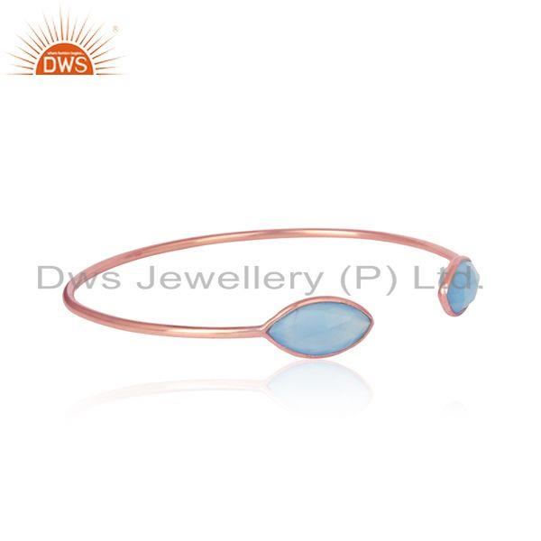 Blue chalcedony designer handmade cuff in rose gold on silver