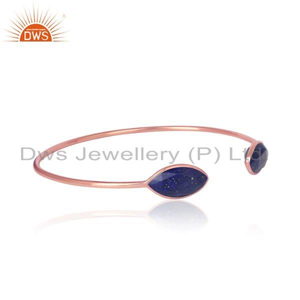 Lapis designer handmade cuff in rose gold on silver