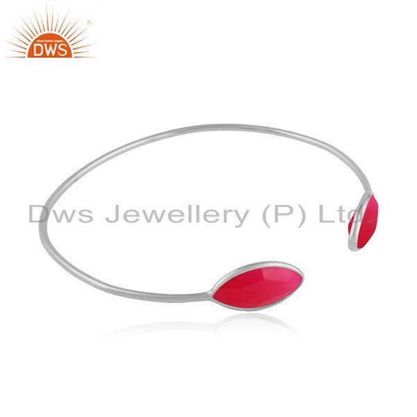 Pink chalcedony gemstone womens sterling silver cuff bangles