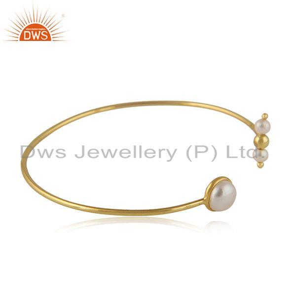 Handmade gold plated 925 silver natural pearl gemstone cuff bangle