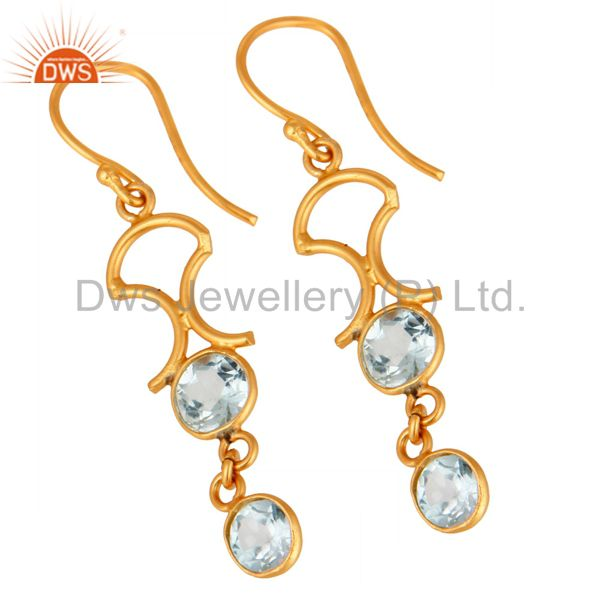 Exporter Handmade 925 Sterling Silver Blue Topaz Gemstone Earring With 22K Gold Plated