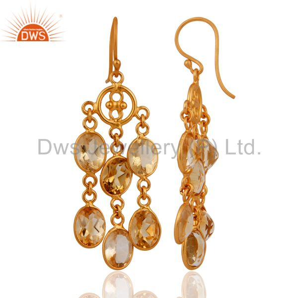 Exporter .925 Sterling Silver Chandelier Style Citrine Gemstone Earrings With Gold Plated