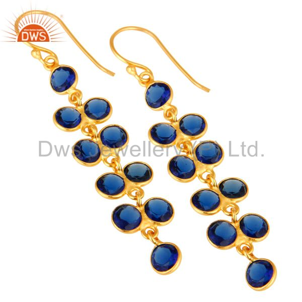Exporter Gold Plated Sterling Silver Round Cut Blue Corundum Bezel Set Dangle Earrings