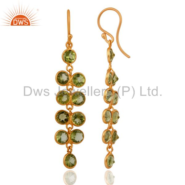 Exporter Handmade 925 Sterling Silver Gold Plated Peridot Gemstone Ladies Dangle Earrings
