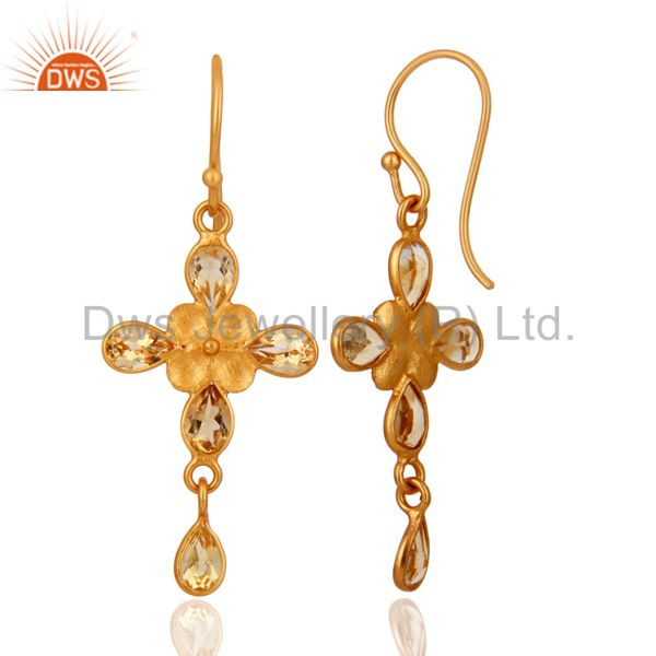 Exporter Handmade Citrine Gemstone Dangle Earrings With Yellow Gold Plated Brass