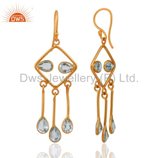 Exporter Designer 925 Sterling Silver With 18k Gold-Plated Blue Topaz Gemstone Earrings
