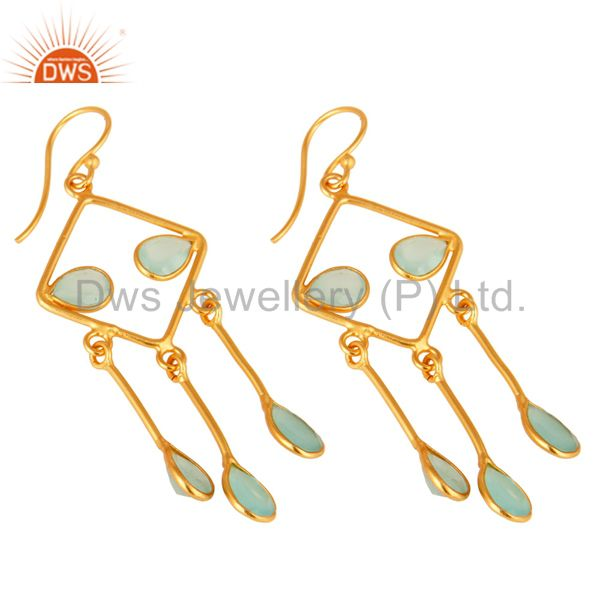 Exporter Handmade 925 Sterling Silver Aqua Blue Glass Chandelier Earrings With Gold Verme
