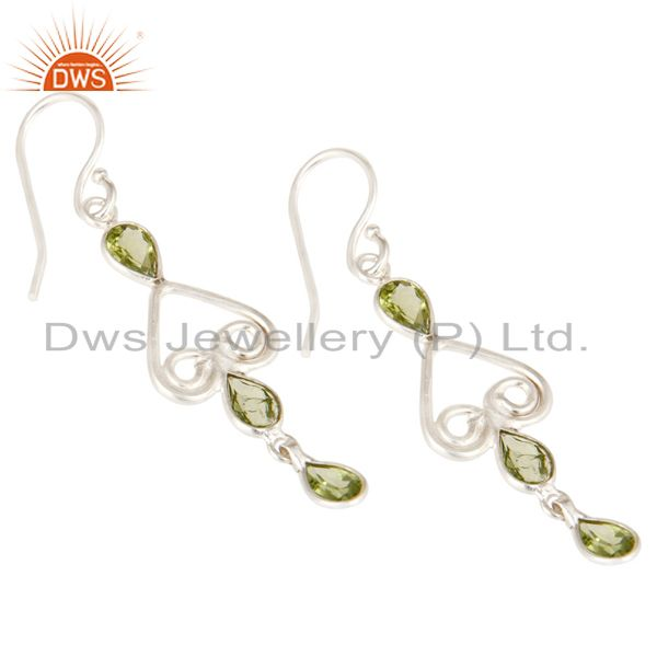 Exporter Mothers Day Gifts Handmade Solid 925 Sterling Silver Peridot Gemstone Earrings